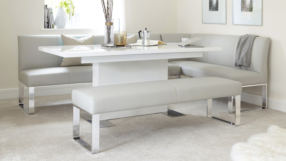 Loop 7 Seater Left Hand Long Upholstered Dining Bench