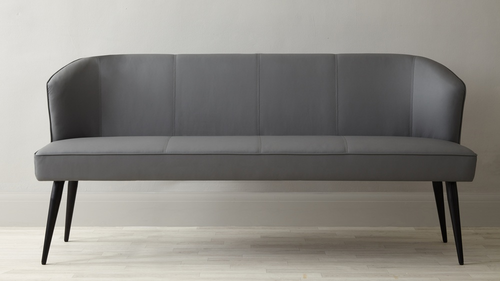 Mellow 4 Seater Black Faux Leather Bench With Backrest