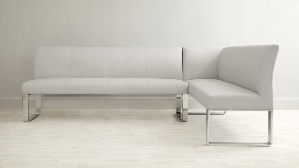 Grey Gloss And 7 Seater Left Hand Corner Bench Dining Set