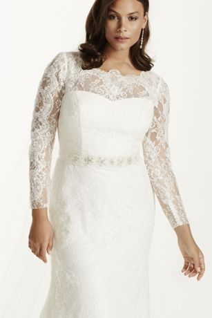Lace Long Sleeve Sheath Gown with Beading   David s Bridal Save
