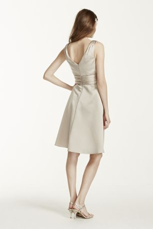 Short Sleeveless Satin Dress with Ruched Waist   David s Bridal Mouse over to zoom