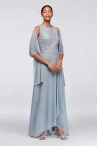 Alex Evenings Dresses  Mother of the Bride   David s Bridal Long A Line Elbow Sleeves Formal Dresses Dress   Alex Evenings