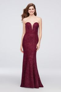 Prom Dresses for Sale   Discount Prom Dresses   David s Bridal Strapless Plunge Glitter Knit Mermaid Gown