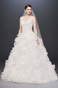 Shop Discount Wedding Dresses  Wedding Dress Sale   David s Bridal Plunging V Neck Wedding Gown with Tiered Skirt