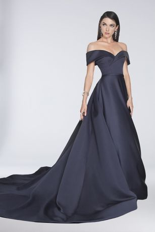 Off The Shoulder Satin Ball Gown With Train Davids Bridal
