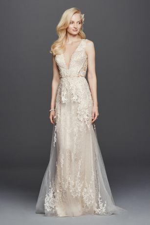 Illusion Plunging V Neckline Tulle Wedding Dress Davids