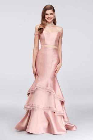 Two Piece Off The Shoulder Mikado Mermaid Gown Davids