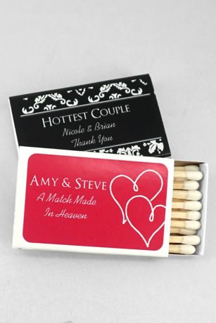 Personalized Match Box With Design Davids Bridal