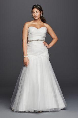 Strapless Mermaid Tulle Plus Size Wedding Dress Davids