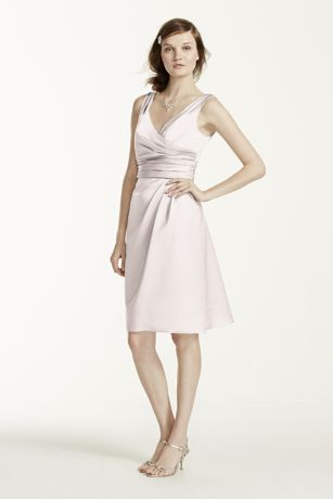 Short Sleeveless Satin Dress with Ruched Waist   David s Bridal Short Pink Structured David s Bridal Bridesmaid Dress