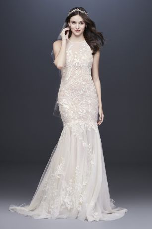 Blooming Applique Wedding Dress With Open Back Davids Bridal