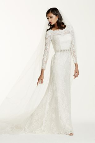 Long Sleeve Wedding Dress with Beaded Lace   David s Bridal Save