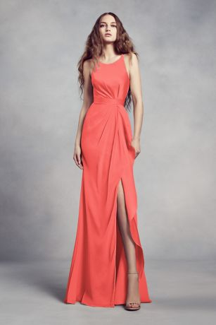 Coral Wedding Color   Coral Dresses for Weddings   David s Bridal Charmeuse and Chiffon Bridesmaid Dress with Ruffle