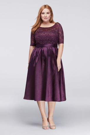 Lace And Satin Elbow Sleeve Plus Size Ball Gown Davids