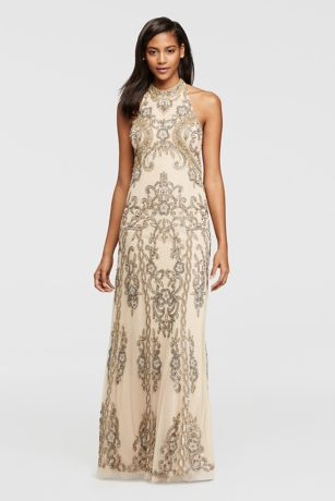 Allover Beaded Dress with Halter Neckline   David s Bridal Allover Beaded Dress with Halter Neckline
