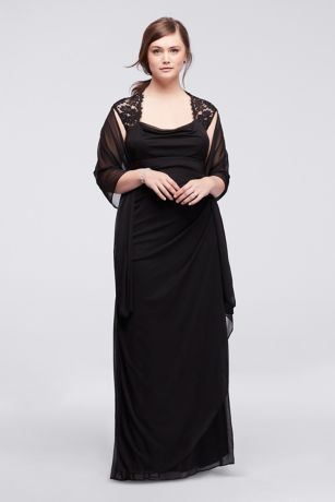 Cap Sleeve Jersey Plus Size Dress with Lace Detail   David s Bridal Long Sheath Cap Sleeves Formal Dresses Dress   Xscape