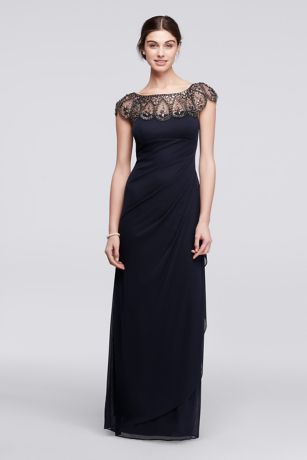 Long Party Dress with Side Draping   David s Bridal XS7761  Long Sheath Cap Sleeves Formal Dresses Dress   Xscape