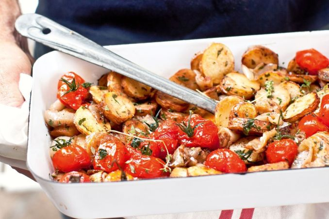 Pan-fried herby potatoes with sweet oven-roasted onions