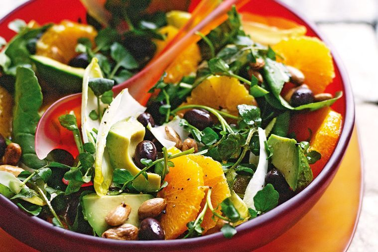 Watercress, witlof, orange and olive salad
