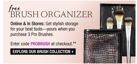 Free Brush Organizer | Online & In stores: Get stylish storage for your best tools?yours when you purchase 3 Pro Brushes. Enter code PROBRUSH at checkout.** | Explore our Brush Collection