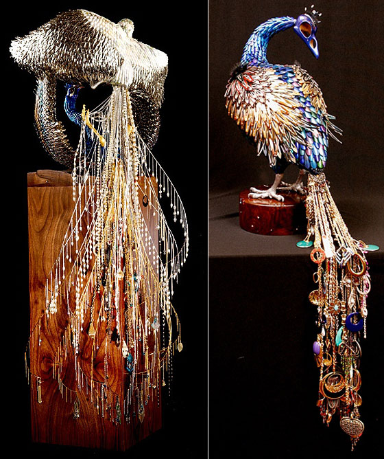 Stunning Peacock Sculptures made from Beauty Supplies