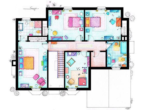 Interesting Detailed Floor Plans Of Famous TV Shows By