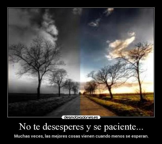No te desesperes y se paciente... | Desmotivaciones