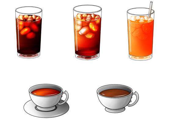 [おにかしま] 【モノクロ】飲み物イラスト素材【カラー】