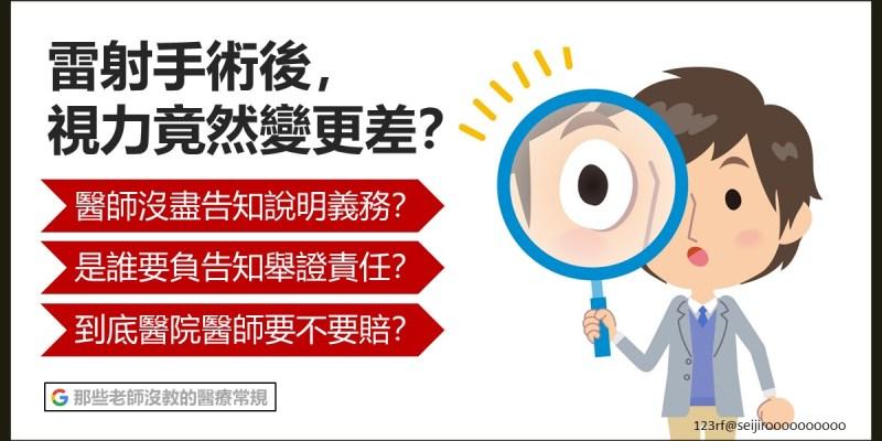 雷射手術後,視力竟然變更差? 【手術同意書】