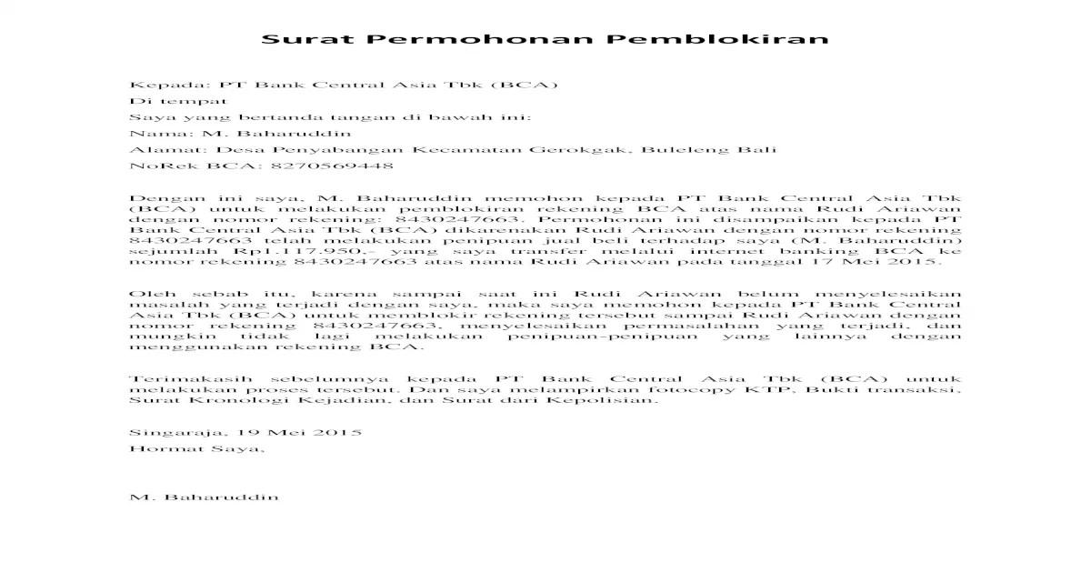 20 Contoh Surat Pernyataan Penipuan Untuk Bank