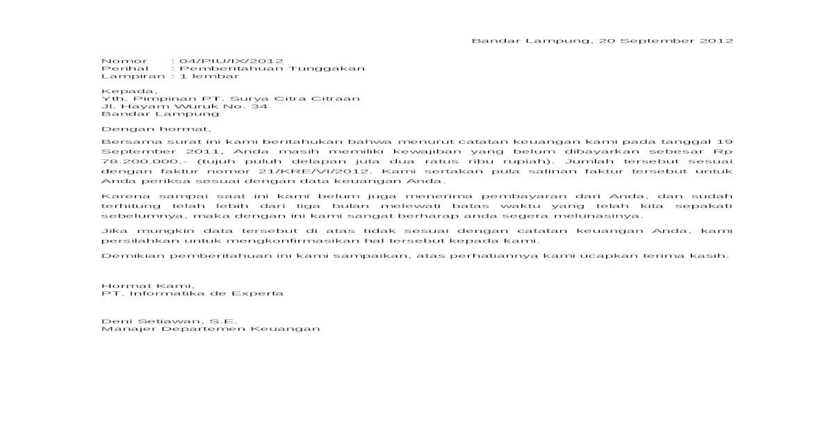 Contoh Surat Pemberitahuan Pembayaran Surabaya