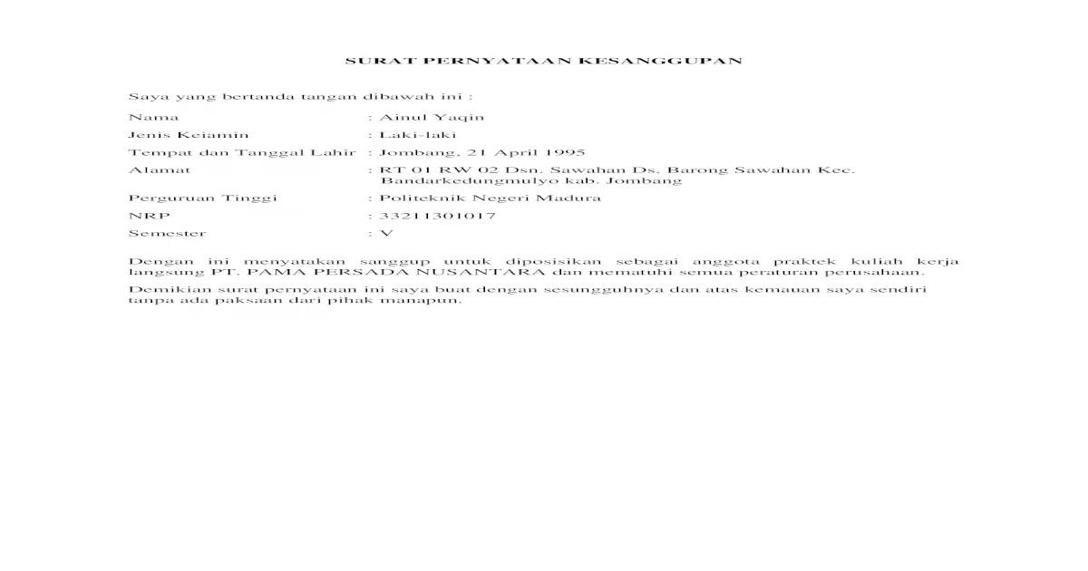 19 Contoh Surat Pernyataan Kesanggupan Mematuhi Peraturan Doc