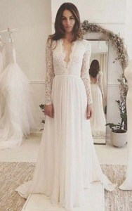 Cheap Bohemian Wedding Gown   Cheap Grecian Beach Bridal Dress     V neck Long Sleeves Backless Ivory Chiffon Wedding Dress with Lace