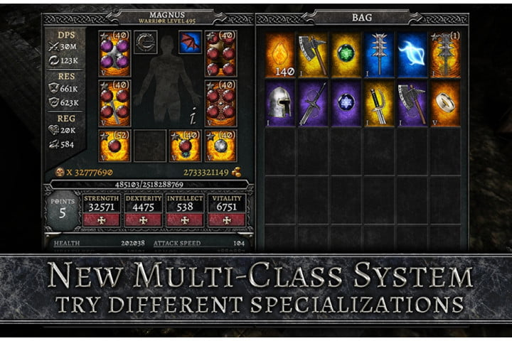 Screenshot of Anima ARPG on Android showing the different class specializations and skill trees