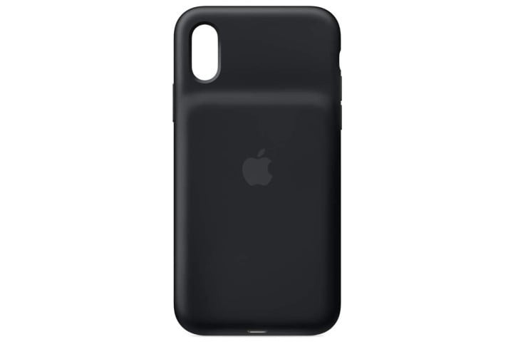 Photo shows the rear view of a black smart battery case from Apple, with the Apple logo on it