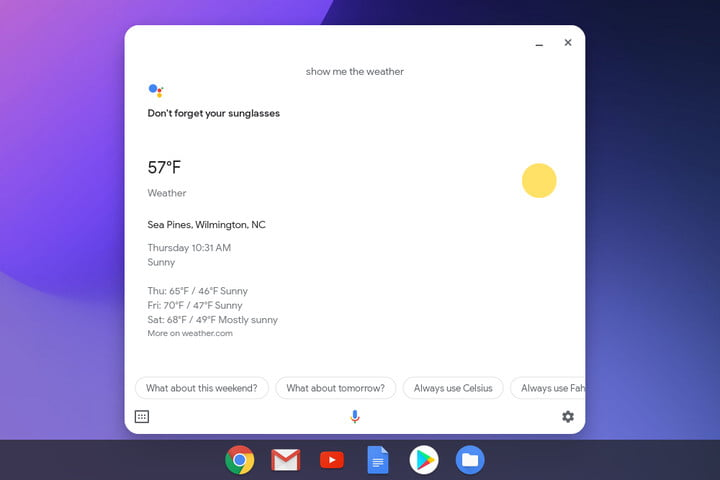 Chromebook Google Assistant Results