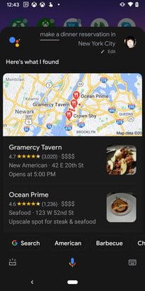 Google Assistant Dinner Reservations NYC