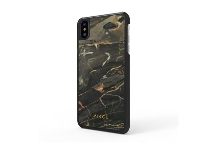 Photo shows the rear view of an iPhone XS in a gold marble case from Mikol