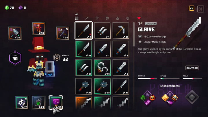 Minecraft Dungeons Glaive drops