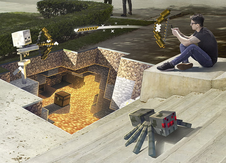 Player battling with an AR skeleton above an AR lava pit  Minecraft Earth Key Art