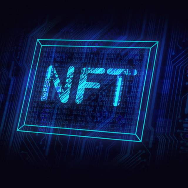 non fungible tokens concept, NFT neon sign-picture on circuit board, crypto art