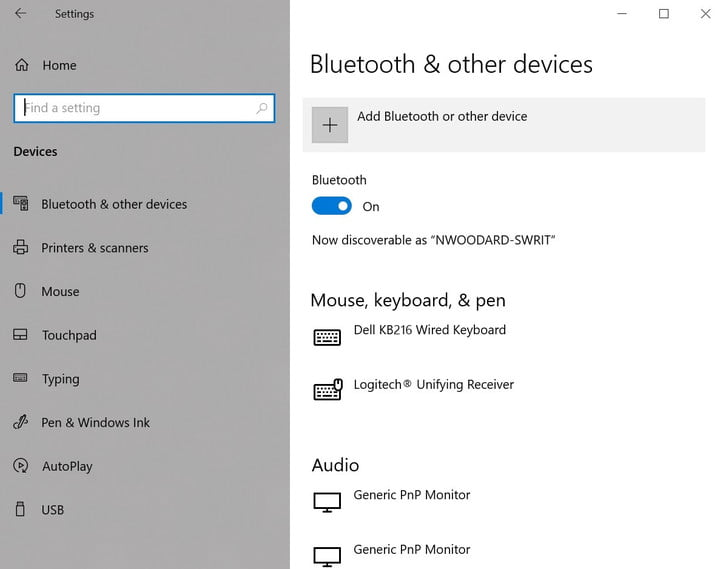 Windows Bluetooth and other devices