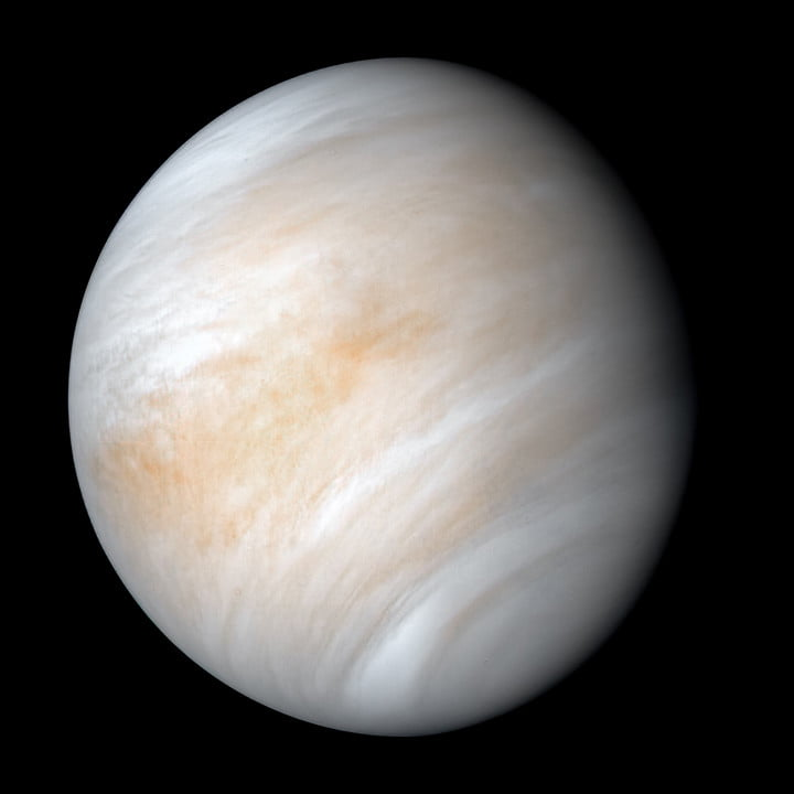 An image of Venus compiled using data from the Mariner 10 spacecraft in 1974