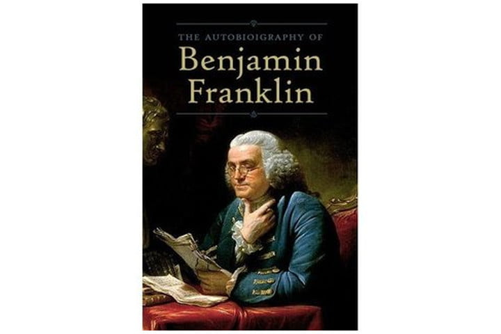 Photo shows a picture of Benjamin Franklin wearing glasses and reading papers, with the book title in a large font above