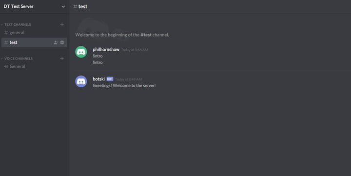 how to make a discord bot test