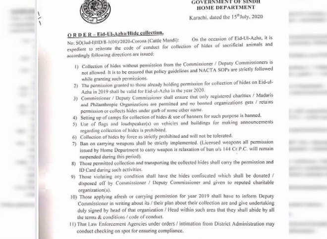 Sindh issues code of conduct for collecting sacrificial hides 1