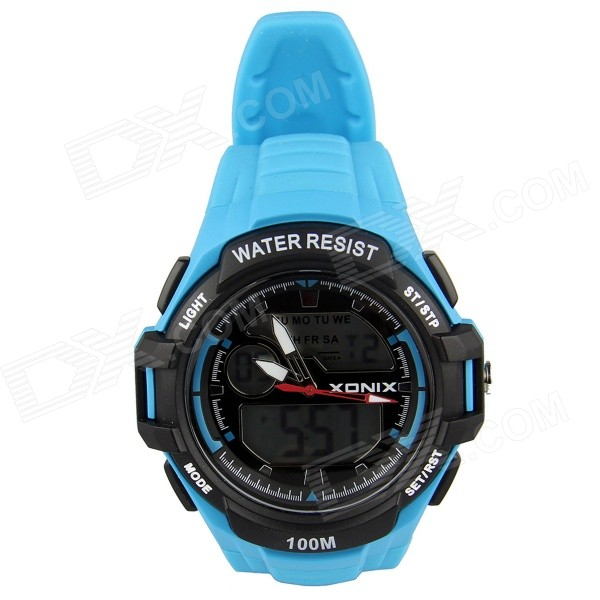 fa2ea1669be5 Deportiva impermeable doble LED Digital Display XONIX MK varonil + reloj  analógico - azul (1