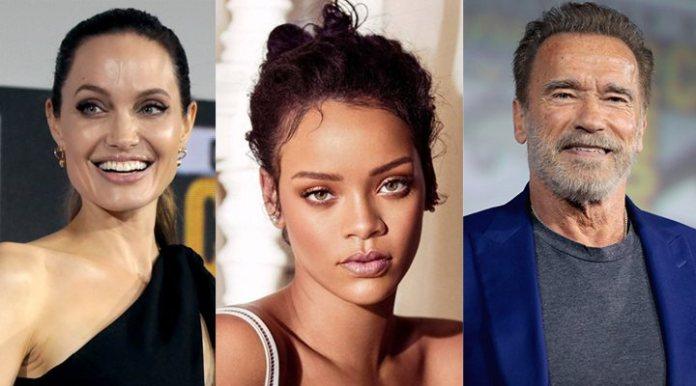 Angelina Jolie, Rihanna, and Arnold Schwarzenegger
