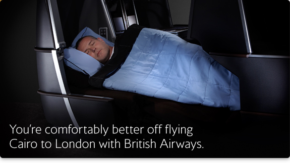 You're comfortably better off flying Cairo to London with British Airways.