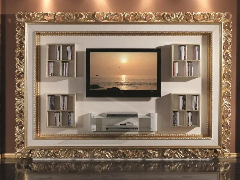 meuble tv en bois avec etagere avec